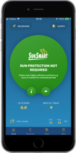 SunSmart app sun protection not required